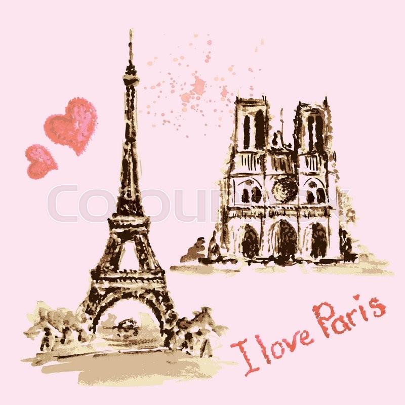 800x800 Notre Dame De Paris Cathedral, Eiffel Tower, France. Watercolor