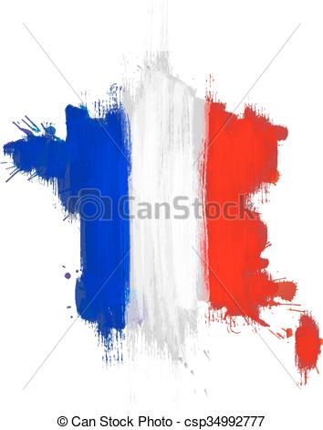 354x470 Grunge Map Of France With French Flag Vectors Illustration