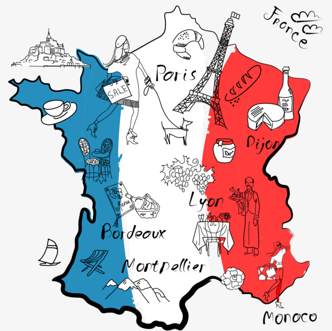 650x647 Different Region Of France Is Famous For Stylized Map, Hand Drawn