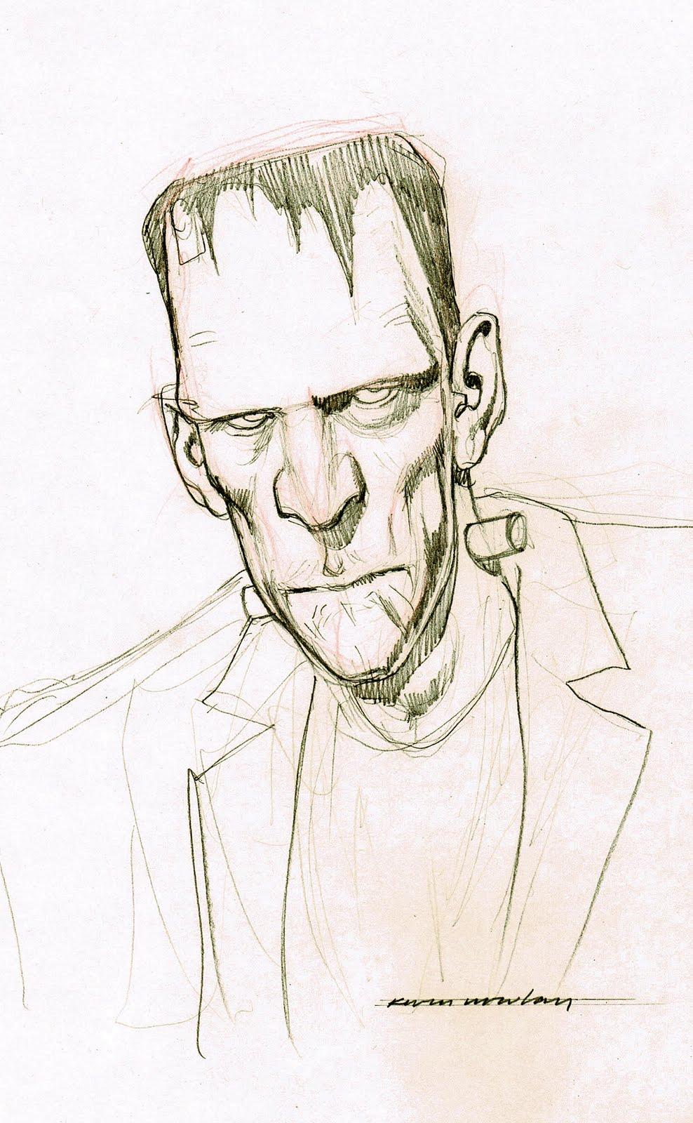 988x1600 Kevin Nowlan Frankenstein Head Sketch