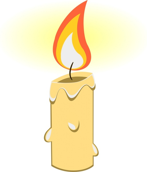 514x600 Bright Candle Vector Illustration With Realistic Cartoon Design