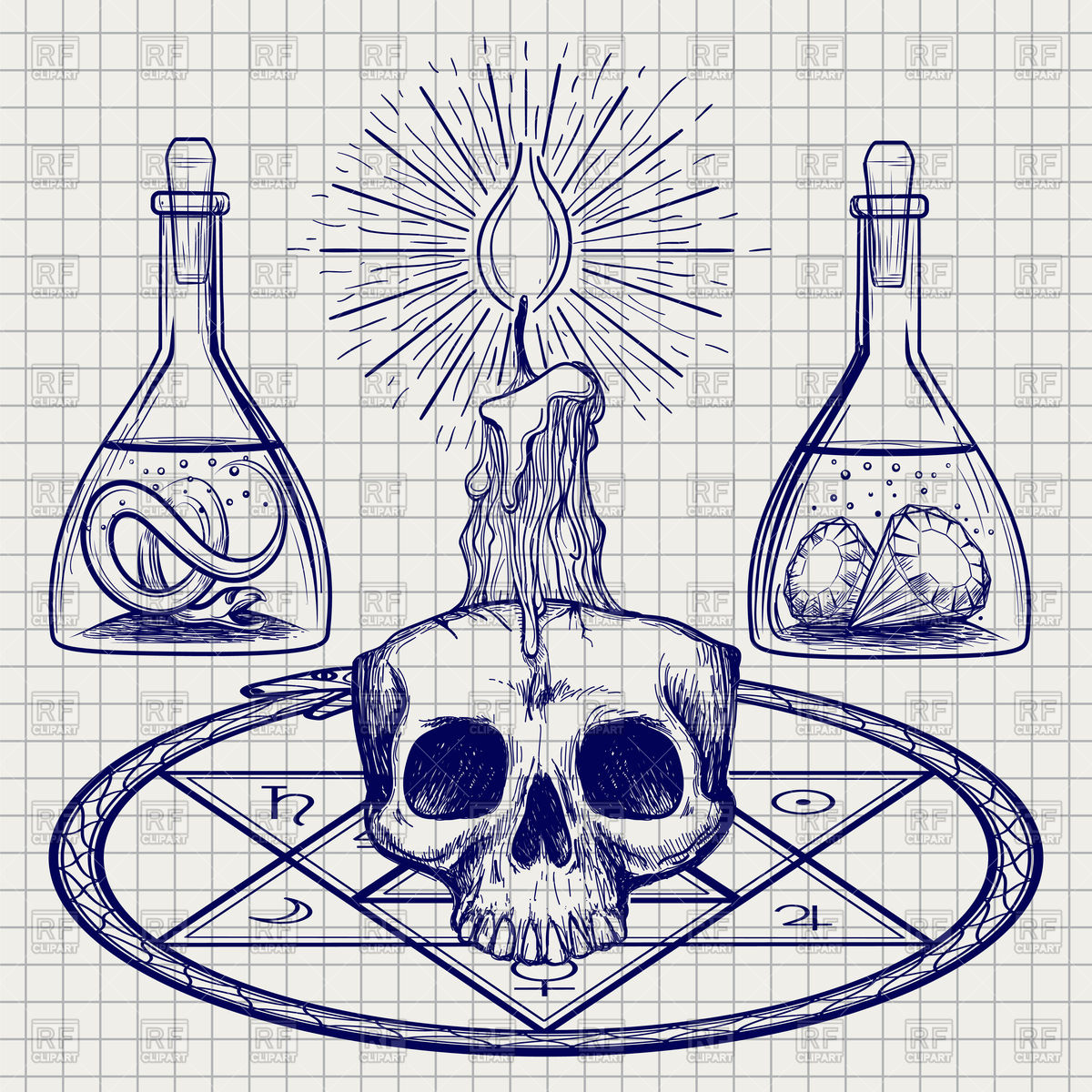 1200x1200 Sketch With Skull, Candle And Occult Elements In Doodle Style