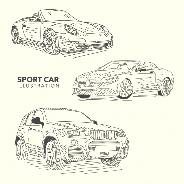 626x626 Hand Drawn Sport Cars Collection Vector Free Download