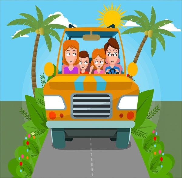 600x588 Happy Family Traveling Car Drawing With Colors Free Vector
