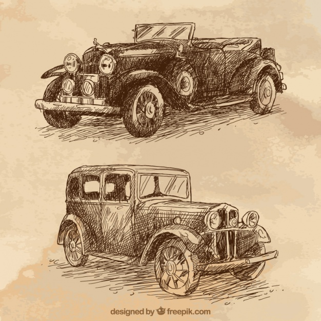 626x626 Stylish Hand Drawn Vintage Car Vector Free Download