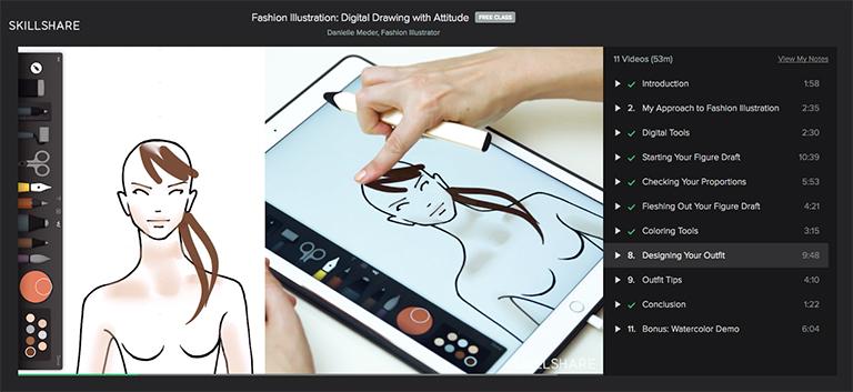 768x353 Free Skillshare Class Digital Drawing With Attitude Final Fashion