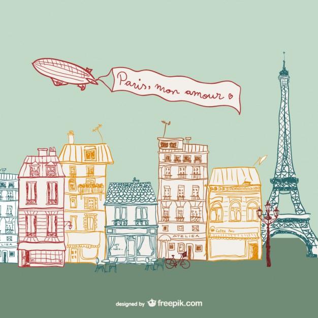 626x626 Parisian Street Drawing Vector Free Download