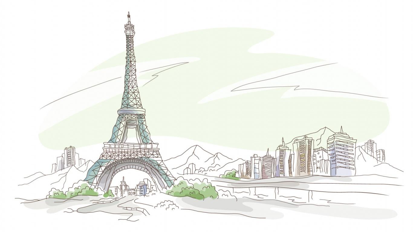 1366x768 Paris Pen And Pencil Drawing Wallpaper Hd Widescreen Download Hd