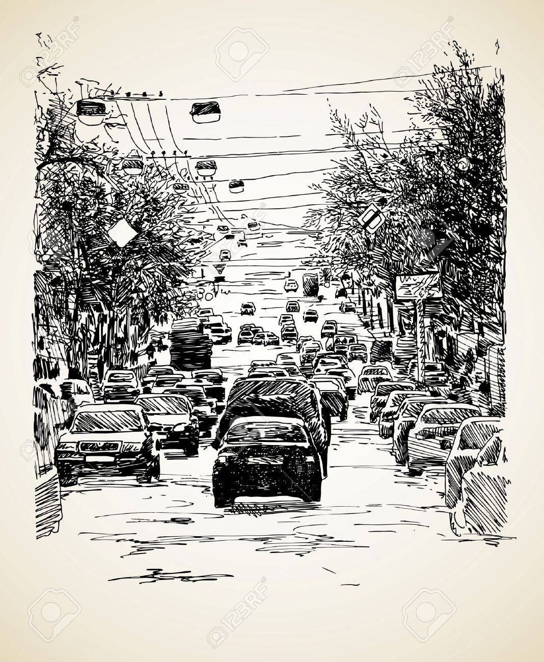 1068x1300 Hand Draw Line Art City Traffic Composition Royalty Free Cliparts