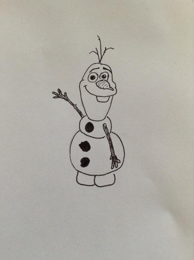 640x857 How To Draw Olaf From Frozen