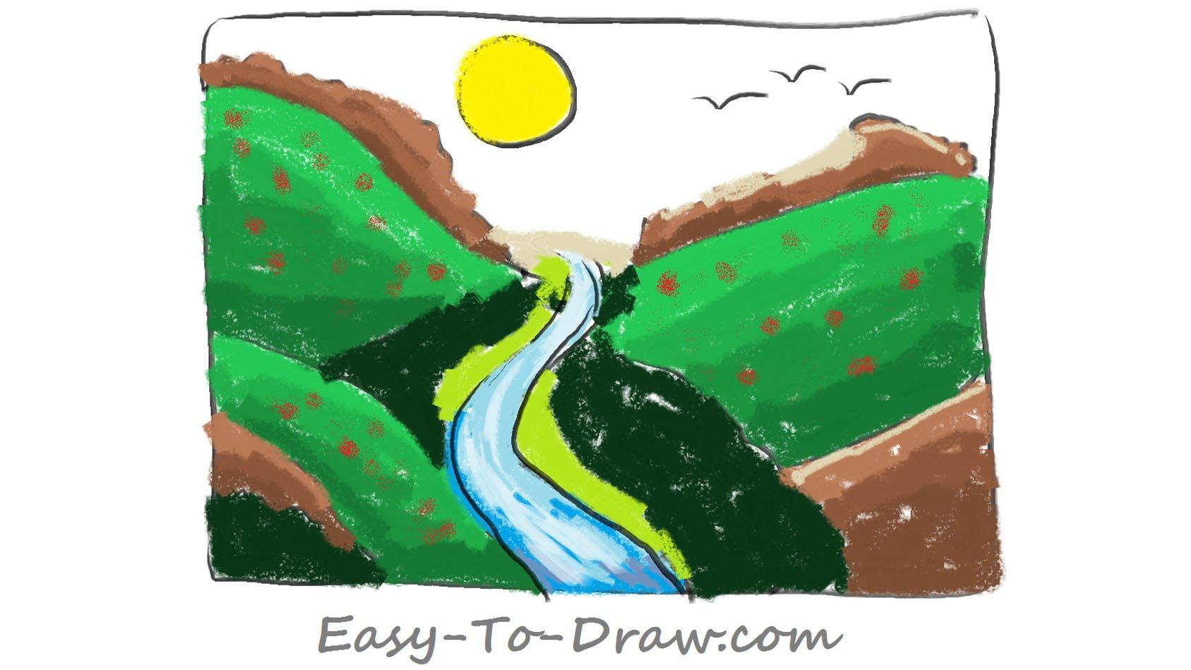 1687x950 How To Draw A Plentiful Cartoon River Valley