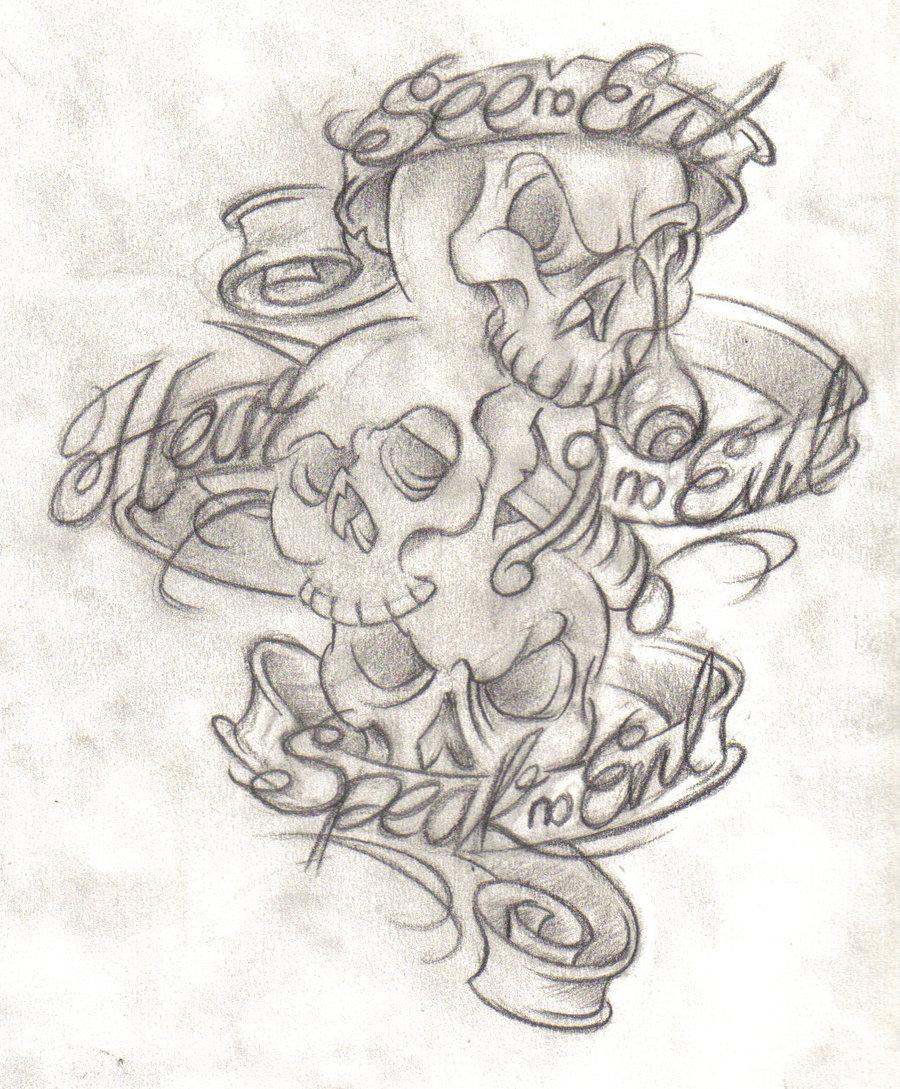 900x1089 Tattoo Drawing Tattoo Design Free Download 11401 See Hear Speak