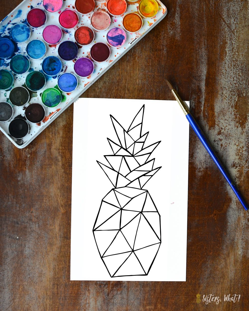 1000x1250 Love Of Watercoloring And Free Geometric Pineapple Print Downloads