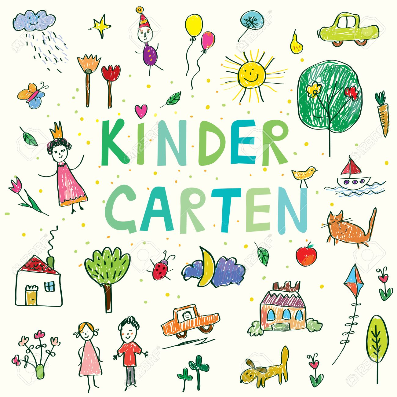 1300x1300 Kindergarten Banner With Funny Kids Drawing