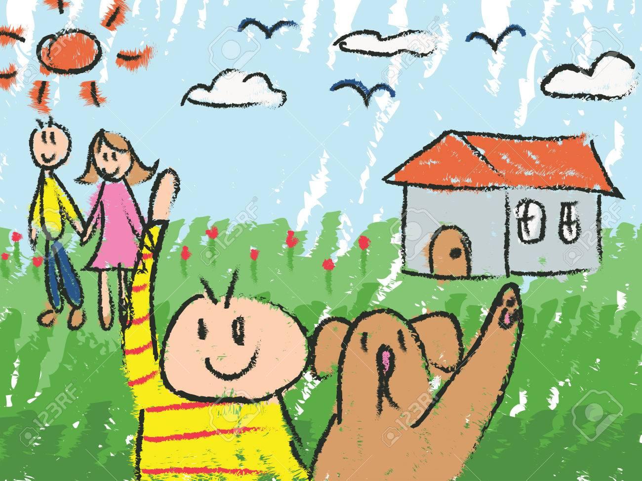 1300x974 Kindergarten Children Color Doodle Drawing Sketch Of Cartoon