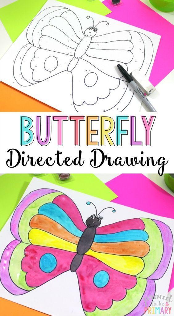 564x1022 Spring Butterfly Directed Drawing Art Activities, Kindergarten