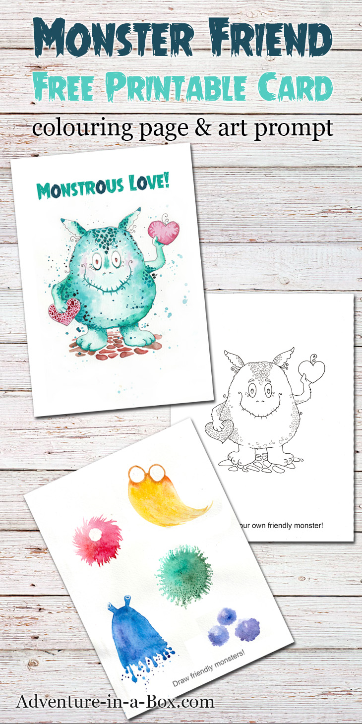 730x1460 Friendly Monster Free Printable Card, Colouring Page Amp Drawing