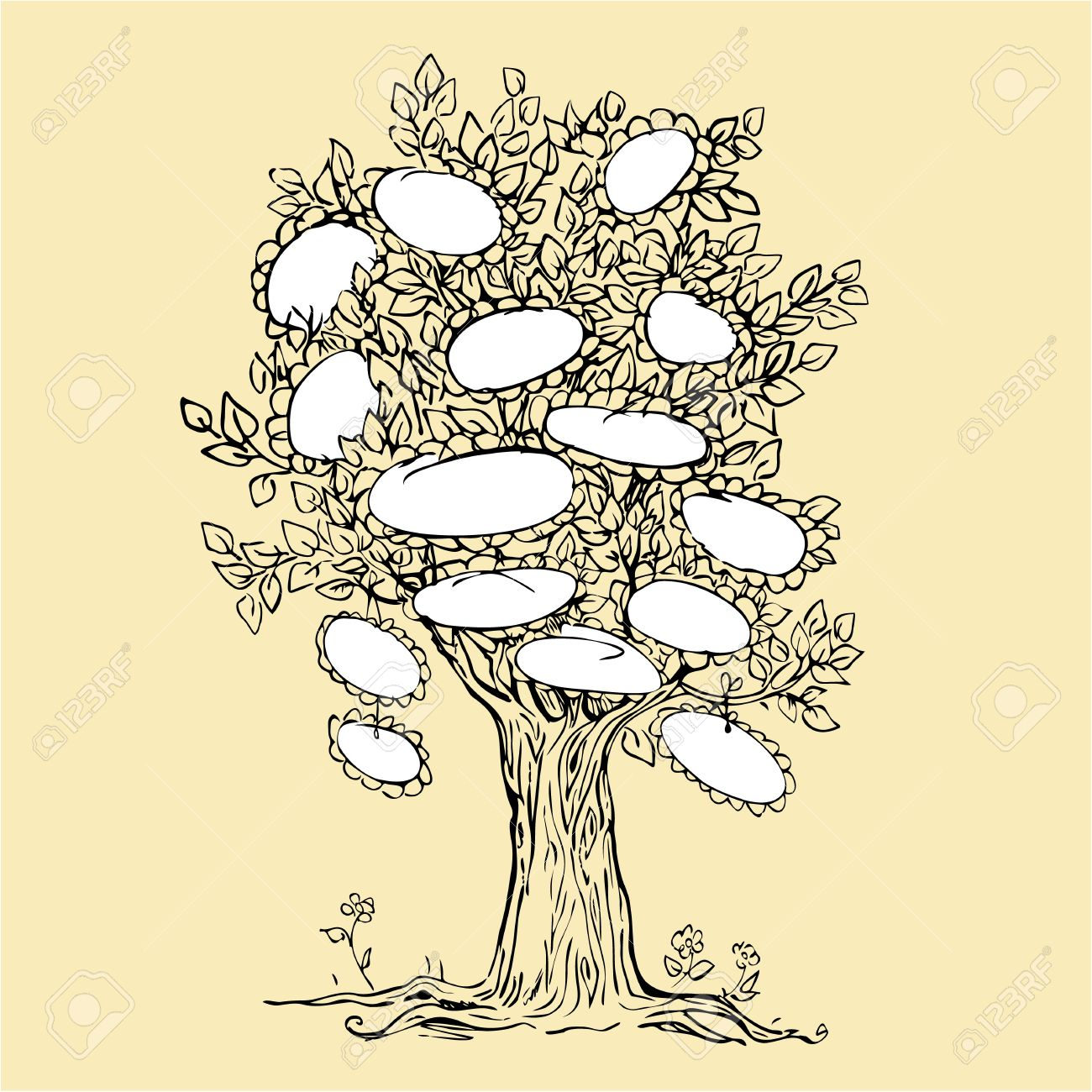 1300x1300 Family Tree Design With Empty Frames For Text