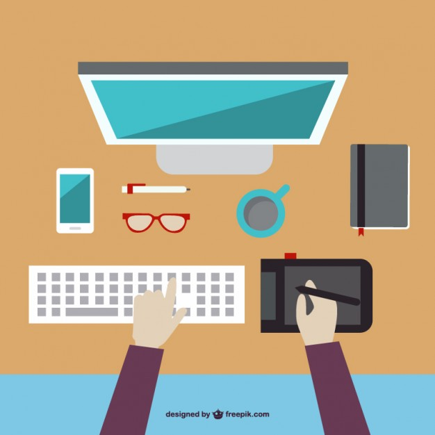 626x626 Graphic Designer Drawing Flat Ilustration Free Vector Desks
