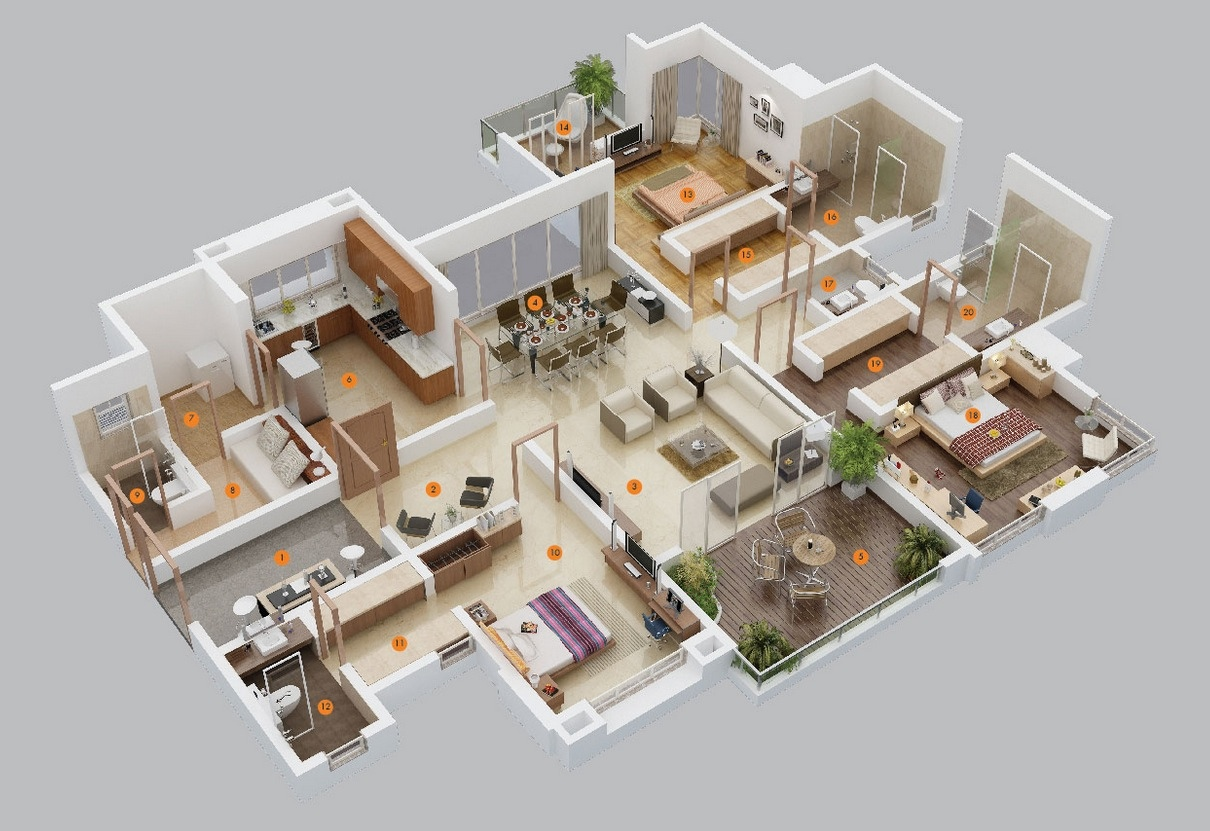 1210x831 3 Bedroom ApartmentHouse Plans