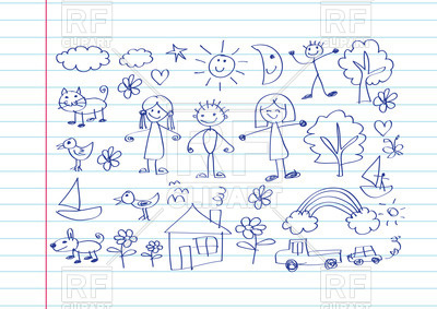 400x283 Kid's Drawing With Happy Family On Notebook Sheet Background