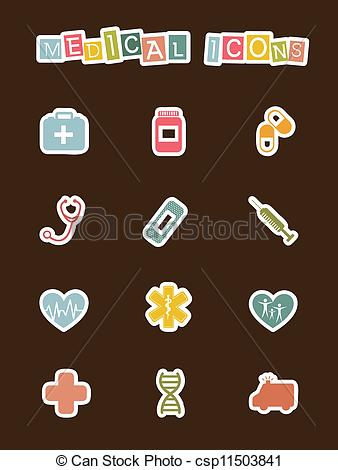 338x470 Cute Medical Icons Over Brown Background. Vector Eps Vector