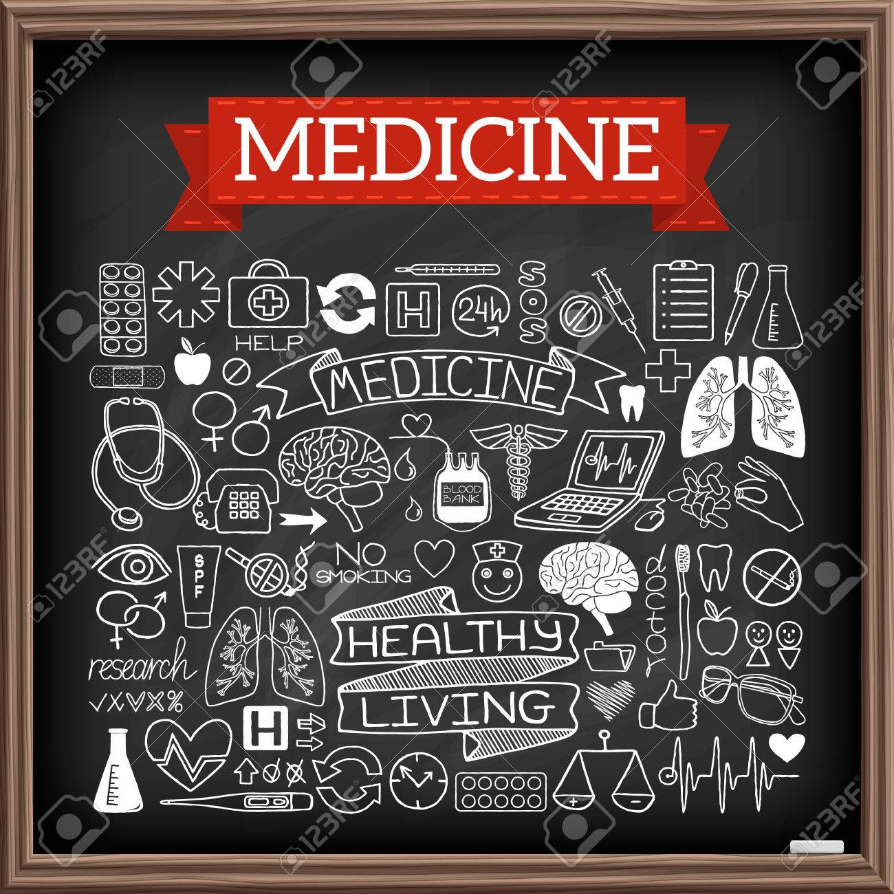 1300x1300 Medical Doodles On Chalk Board. Hand Drawn Healthcare Set