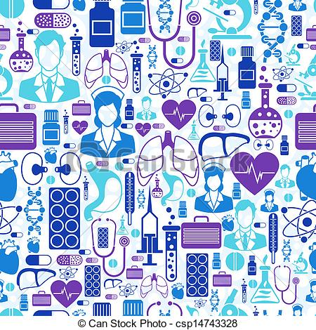 450x470 Medical And Health Care Seamless Pattern. Vector Illustration