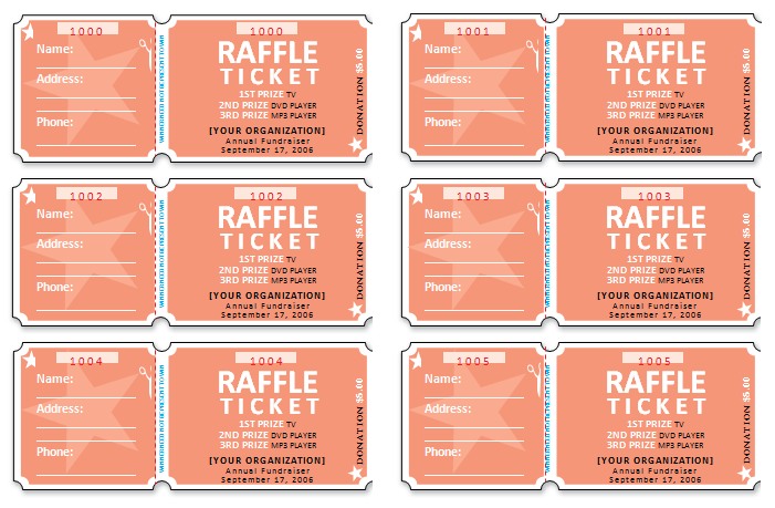 701x459 raffle ticket templates make your own raffle tickets - Free Printable Raffle Ticket Template