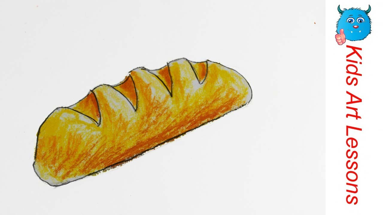 1280x720 French Food Drawings Food Drawings How To Draw A French Bread Loaf