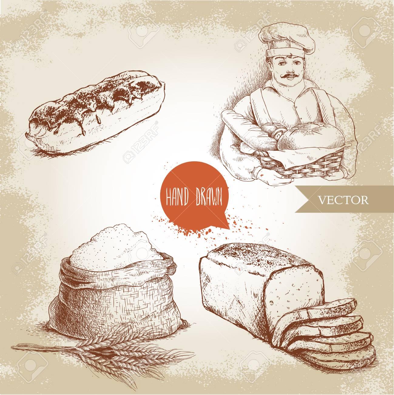 1299x1300 Hand Drawn Set Bakery Illustrations. Baker With Baker Basket
