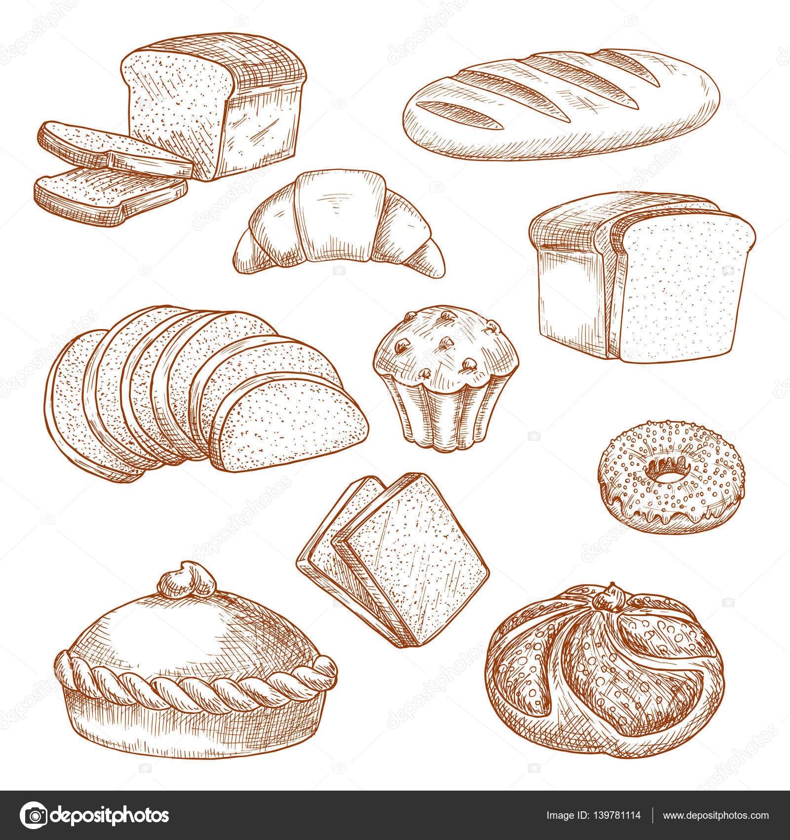 1600x1700 Pastry Or Bakery Food And Bread Sketch Stock Vector Seamartini