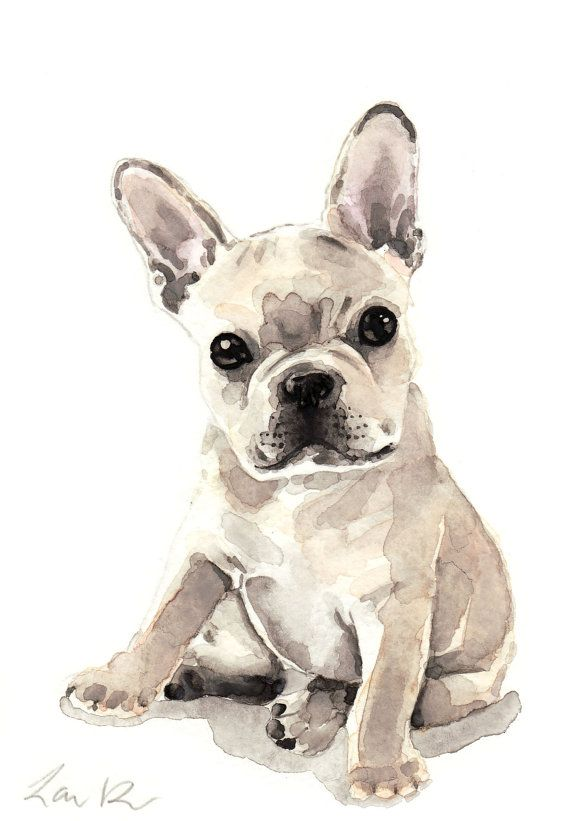 570x821 French Bulldog Puppy Print Watercolor Painting Frenchie Art Dog