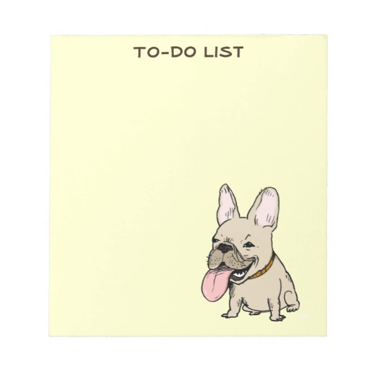 540x540 Funny French Bulldog Drawing With Custom Text Notepad