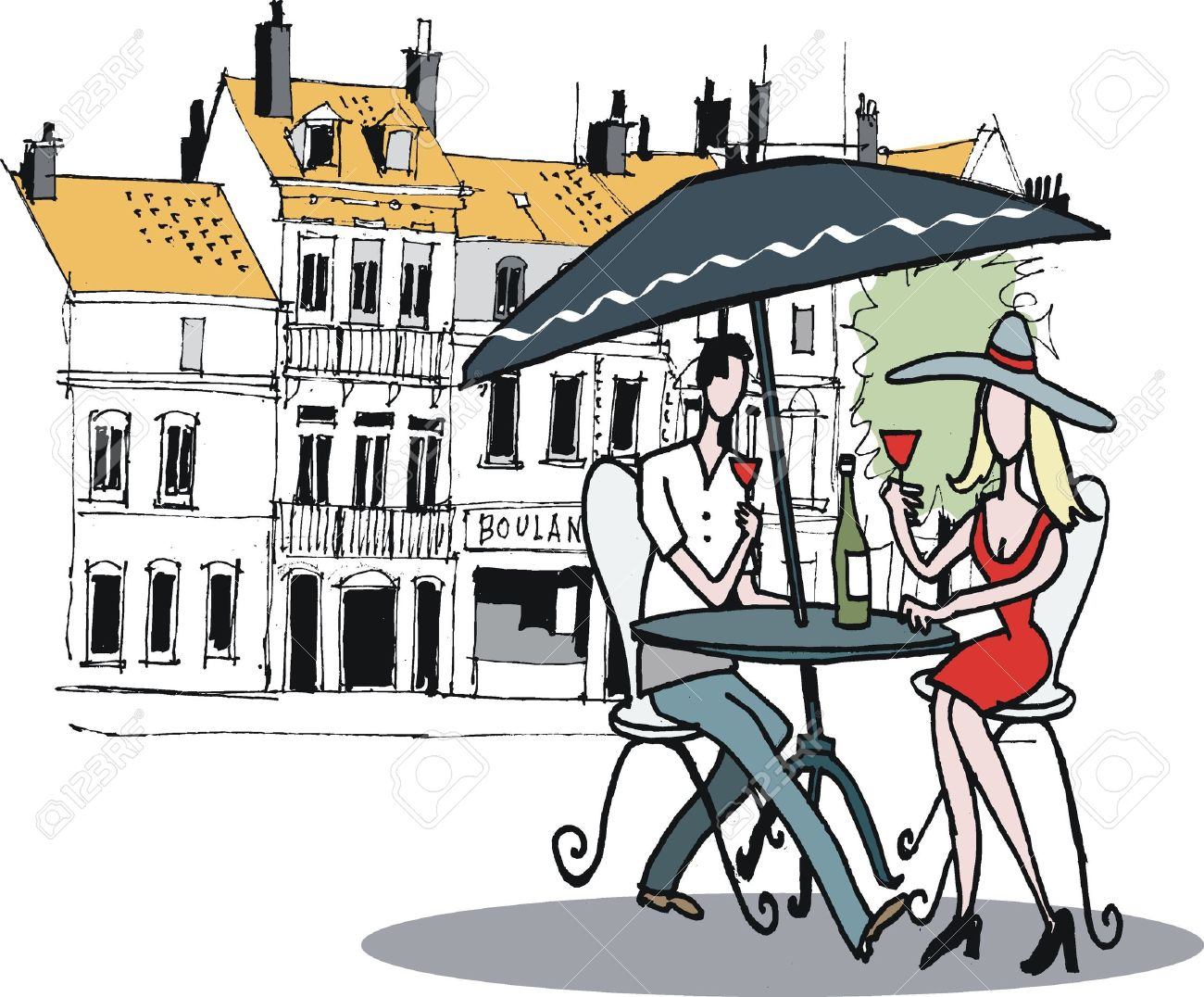 1300x1076 Drawing Of Couple Dining At French Cafe Royalty Free Cliparts