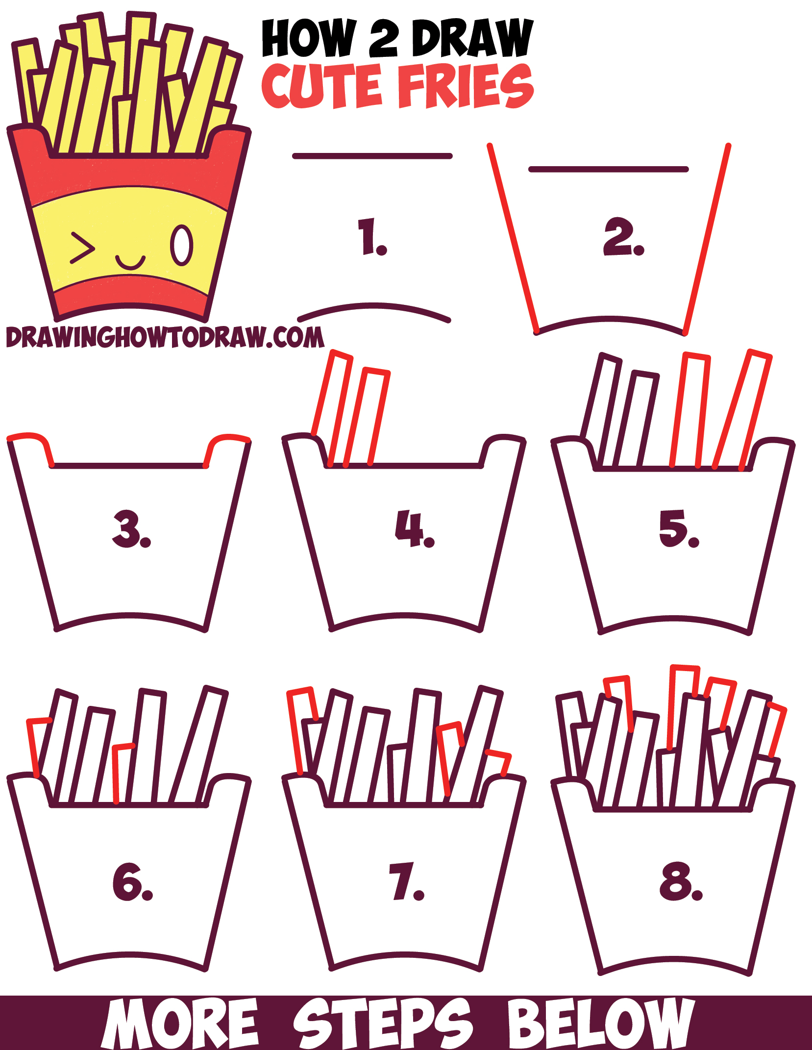 1657x2142 How To Draw Cute Kawaii French Fries With Face On It