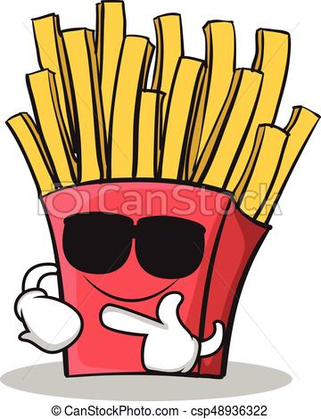 360x470 Super Cool French Fries Cartoon Character Vector Vector