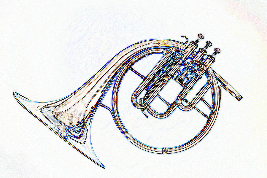 900x600 Antique Classic French Horn Color Drawing 3022.05 Photograph By
