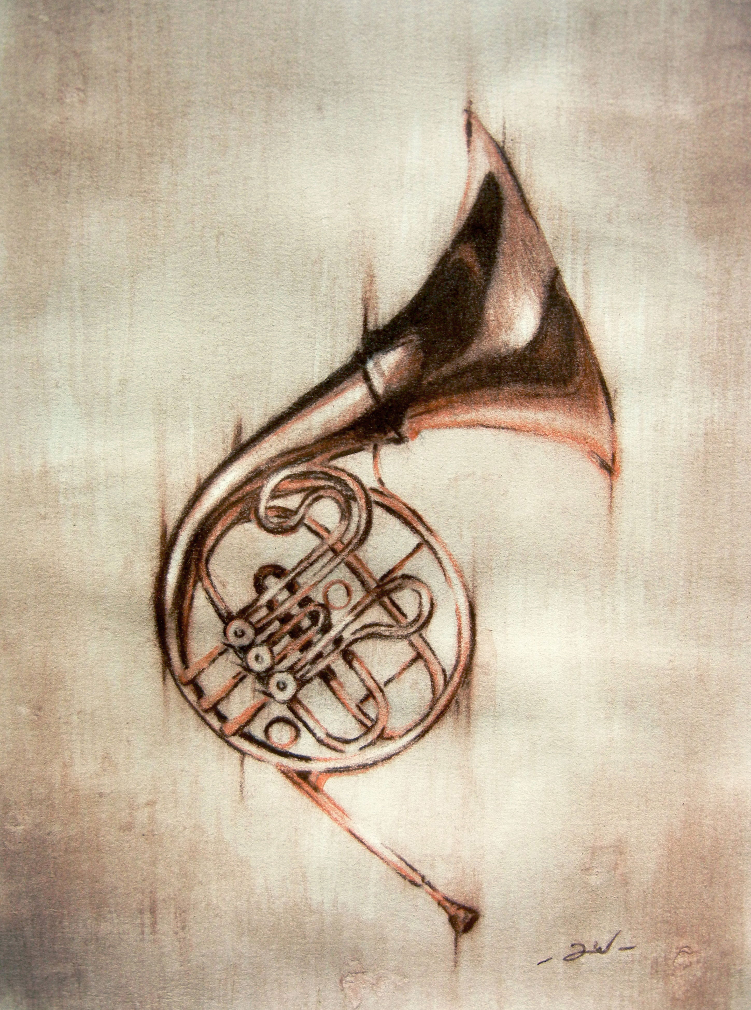 2898x3894 Conte' Pencil And Water Color French Horn Drawingpainting