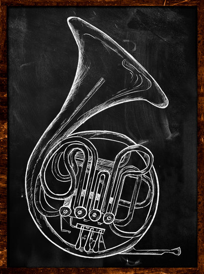 411x550 French Horn Drawing On Blackboard