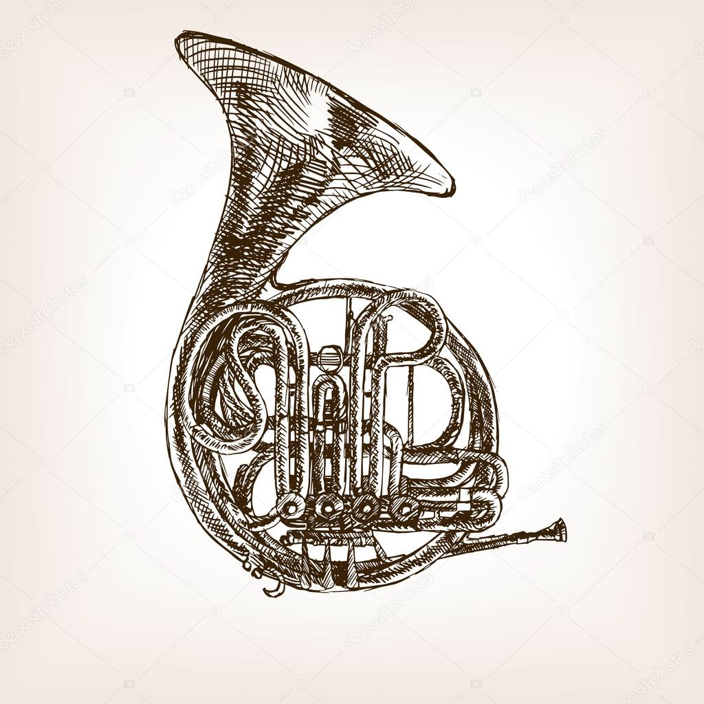 1024x1024 French Horn Hand Drawn Sketch Style Vector Stock Vector