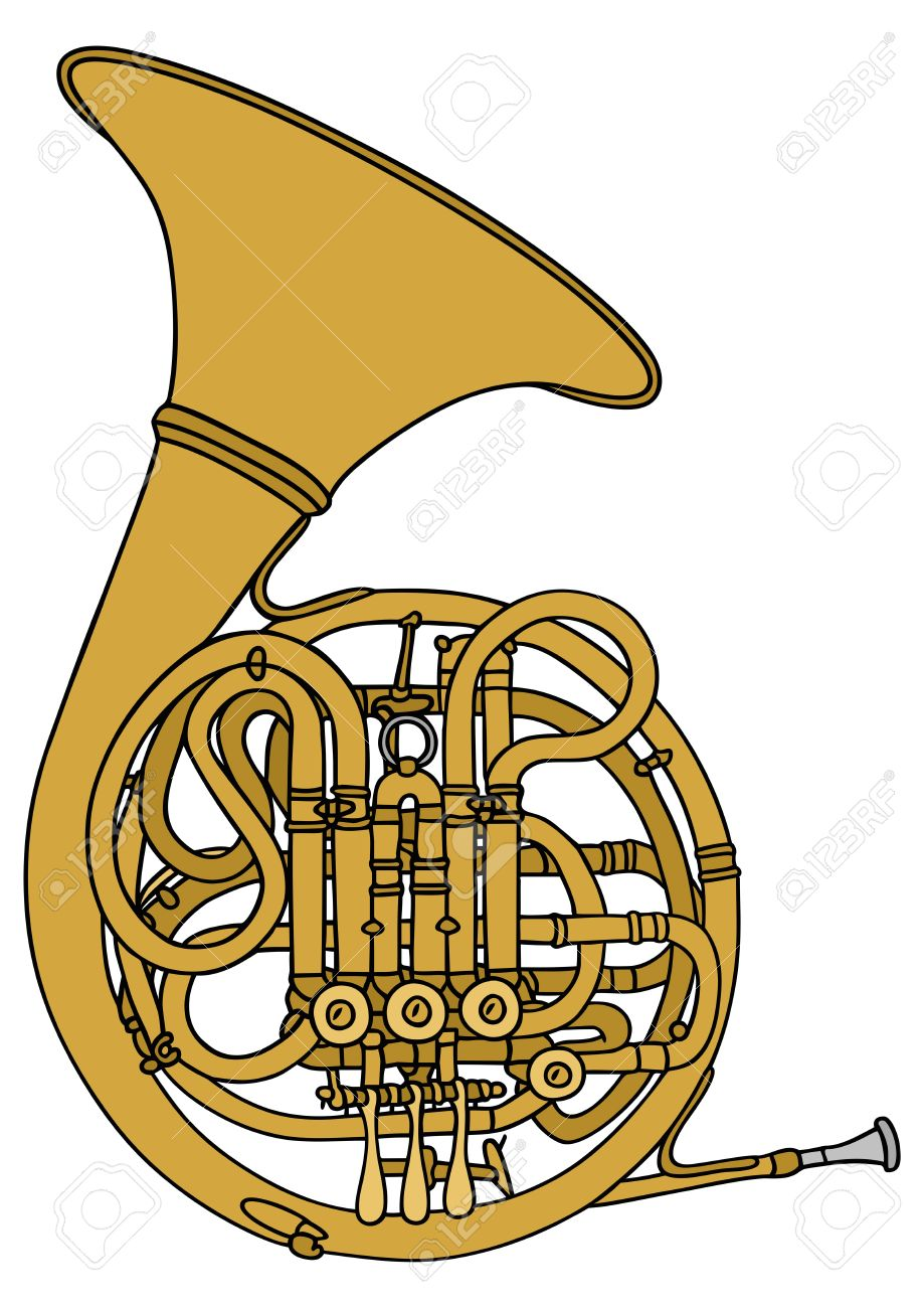 919x1300 Hand Drawing Of A French Horn Royalty Free Cliparts, Vectors,