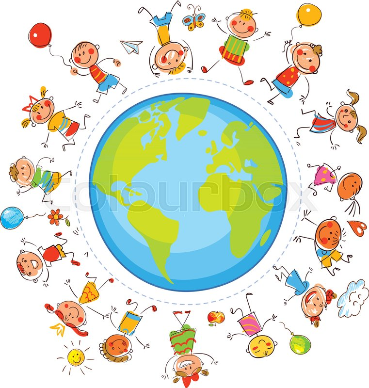 761x800 Earth Day. Multicultural Children On Planet Earth Standing