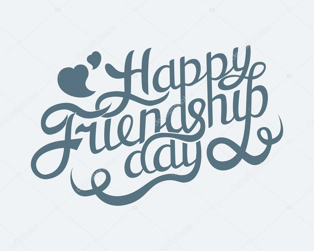 1024x819 Happy Friendship Day Hand Drawing Vector Lettering Design. Stock