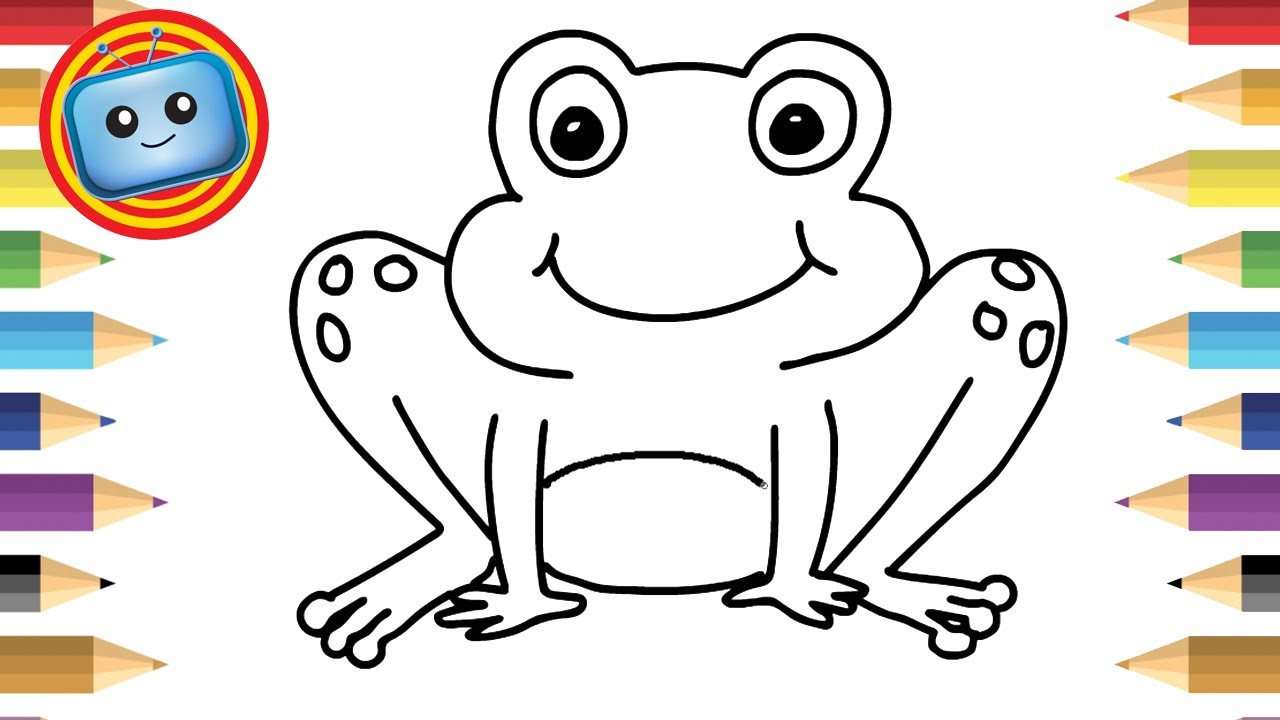 1280x720 How To Draw A Frog Colouring Book Simple Drawing Game