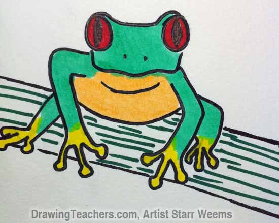 550x439 How To Draw A Tree Frog