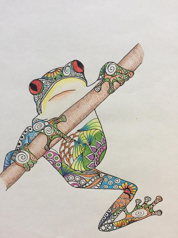 570x760 Zentangle Art Frog Drawing Hanging Frog Colorful Frog