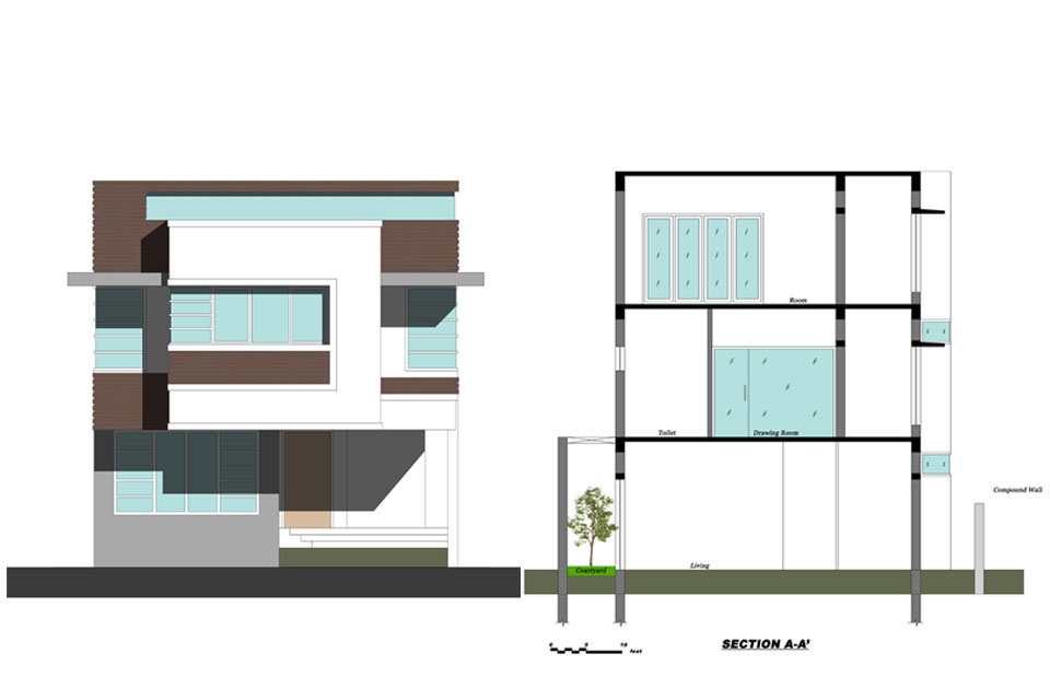 Modern House Front Elevation Drawing : Front elevation drawing at getdrawings free for