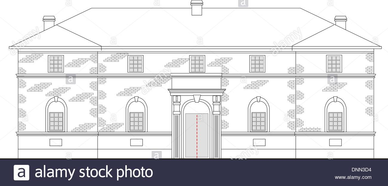 1300x625 Line Drawing Illustration Of A Heritage Mansion Building Viewed