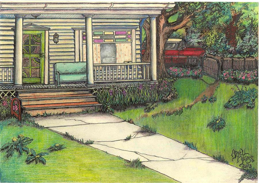 900x635 Front Porch Homestead Drawing By April Mains